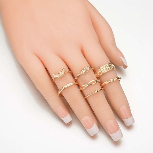 Fashion 12 Pc/set Charm Gold Midi Finger Ring Set Vintage Punk Boho Knuckle Party Rings Jewelry Christmas Gift (Color: Gold)