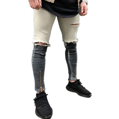 a7549814 Generic Fashion Mens Ripped Slim Fit Motorcycle Vintage Denim Jeans Hiphop  Streetwear Pants Fovibery