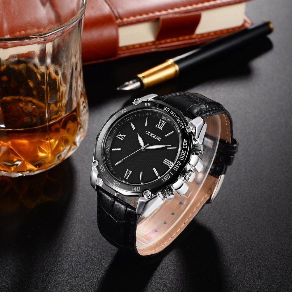 78ee4e993 OUKESHI Africashop Watch OUKESHI-Men Luxury Stainless Steel Quartz Military  Sport Leather Band Dial Wrist Watch C-Black