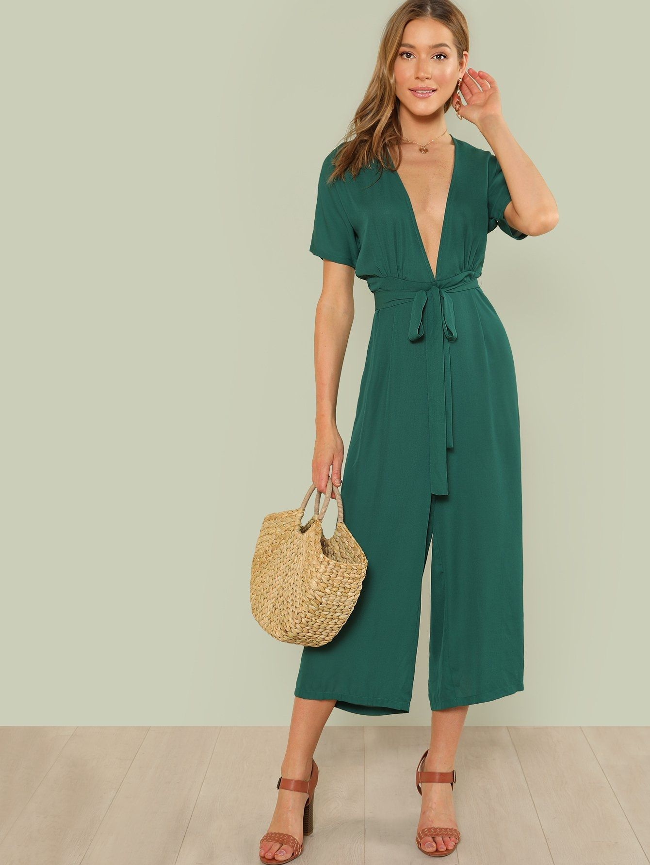 492335425da3 SHEIN Plunge Neck Belted Culotte Jumpsuit. updating Prices