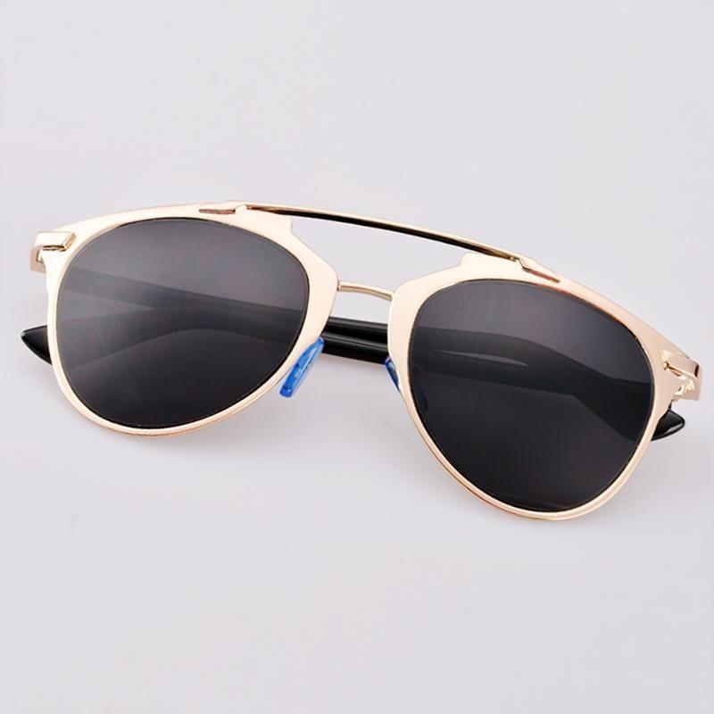 229fae7b4cdb Sunshine Hot Fashion Retro Women Lady Dual Horizontal Beam Full Frame  Sunglasses-Gold Frame Gray Lens