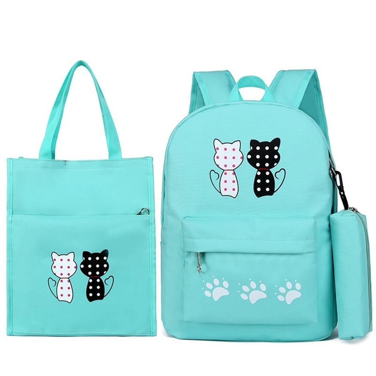 41dafd5427a2 Generic 3 Piece Set Cartoon Cat Student Bag Backpack Backpack