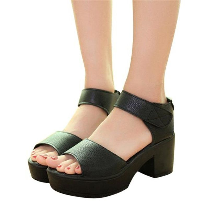 a95bf1c18fb Neworldline Femmes Open Toe Peep Toe Platform High Heel Gladiator Sandals  Chunky Chaussures-Black. updating Prices