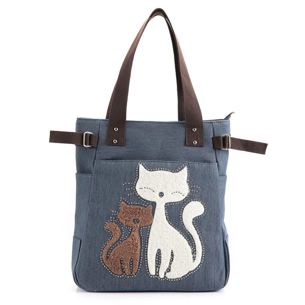 2851b4fe3bbd Fashion Cat Print Canvas Handbag - Blue