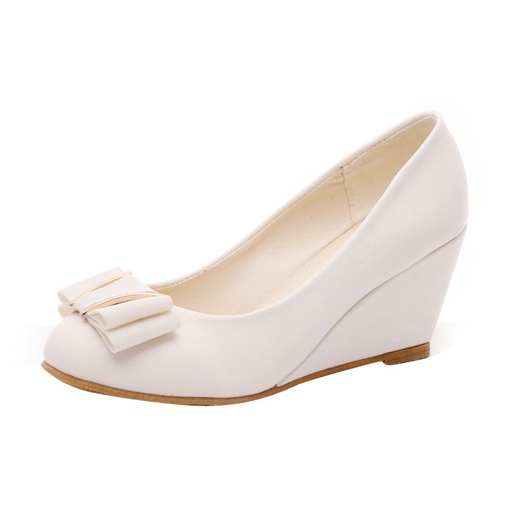 36ba238a37c Neworldline Spring Summer Wedge Heel Shoes Platform Bow Tie Round Toe  Ladies Shoes-Beige (EU Sizing)