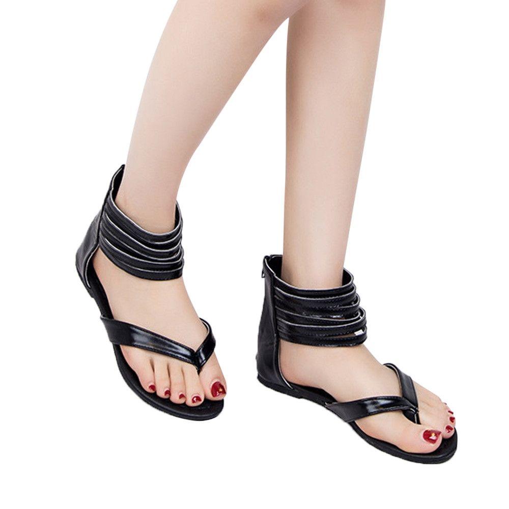 Fashion Blicool Shoes Women Zipper Rome Strappy Gladiator Low Flat Flip  Flops Beach Sandals Shoes Black 0234dd4c501