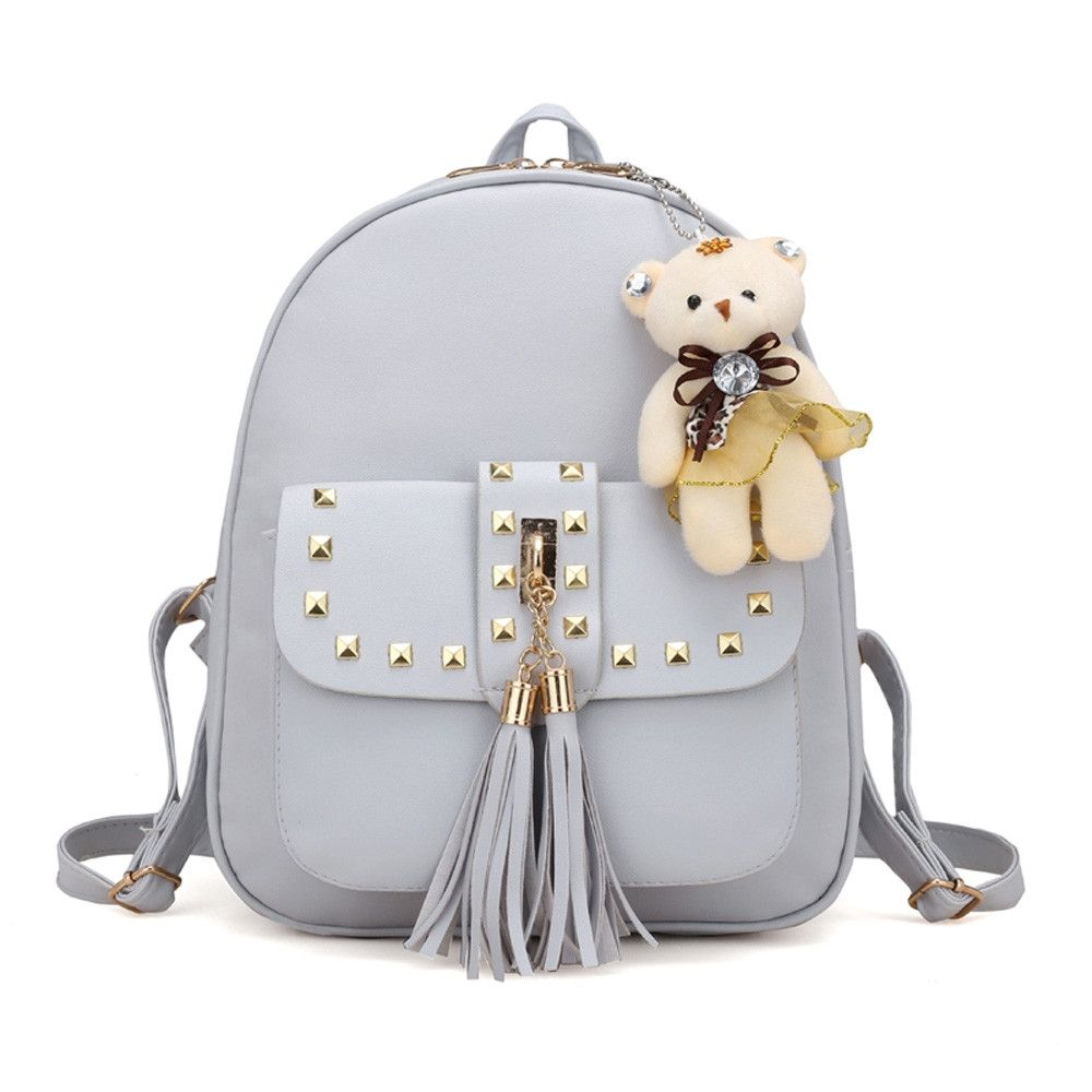 Eissely 4 Sets Women Girl Bear Animals Tassel Backpack