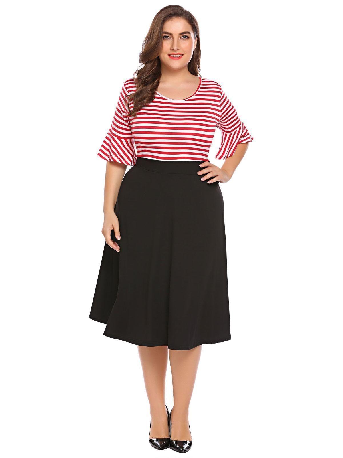 9eec6700440 Sunshine Women Plus Size Vintage Style Half Sleeve Polka Dot ...