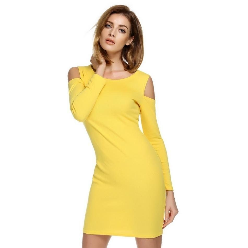 2509d15dc69ad Sunweb Finejo Sexy O-Neck Long Sleeve Off Shoulder Solid Bodycon Stretch Mini  Dress ( Yellow ). updating Prices