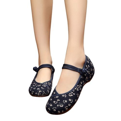 35bbf21af8a Znu Women Ladies Embroidery Chinese Style Flat Mary Janes Cotton ...