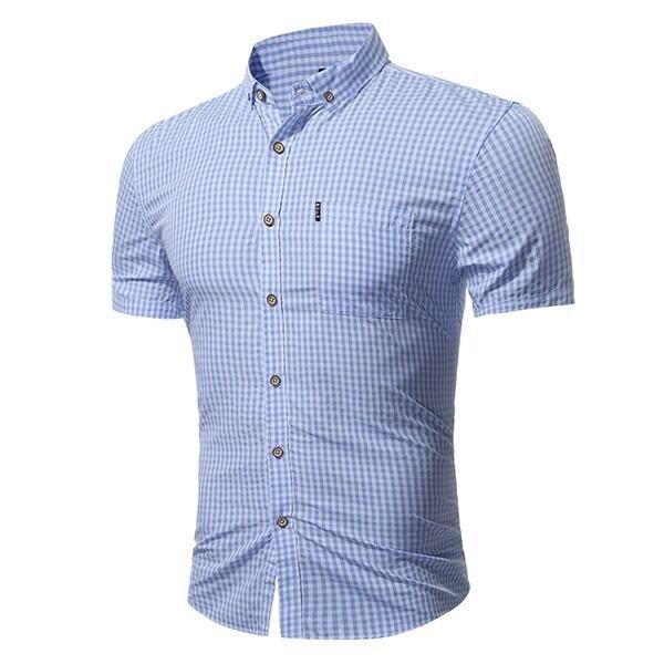 a786971d5 Fashion Mens Slim Fit Summer Classic Turn-down Color Small Plaid Printing  Short Sleeve Casual Shirt Light Blue