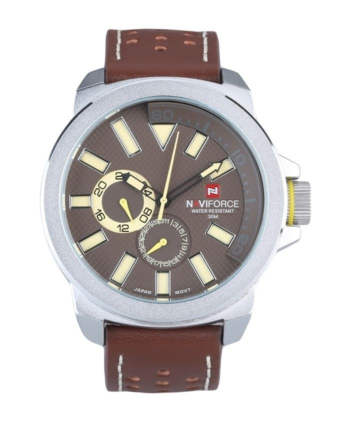 eecf11ac0 سعر Naviforce Men Waterproof Leather Quartz Watch - Dark Brown فى ...