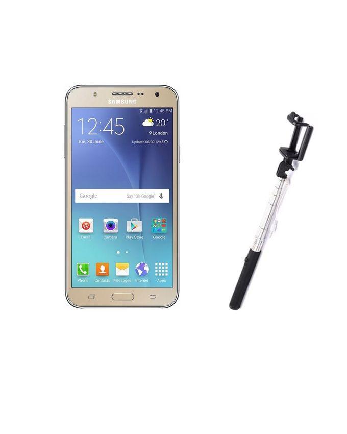 Samsung Galaxy J7 - 5.5 - Dual SIM 16GB Mobile Phone - Gold + Selfie Stick