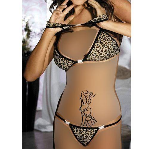d0aca22590f2e Pinky Tiger Bikini - Black & Brown | Swimwear | kanbkam.com