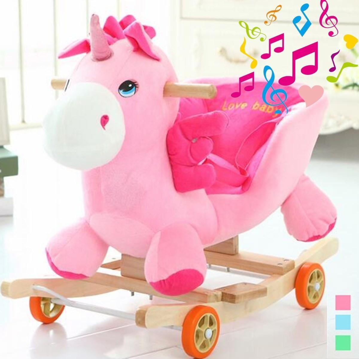 1f3c00234f7 Buy Generic Baby Animal Unicorn Toddler Rocking Horse Toy High Backed Safe  Ride Rocker Gift in