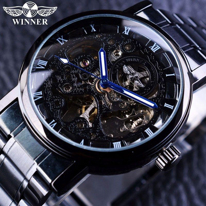 Winner Winner Transparent Steampunk Montre Homme Black Retro Casual Mens Watches Top Brand Luxury Full Steel Skeleton Mechanical Watch