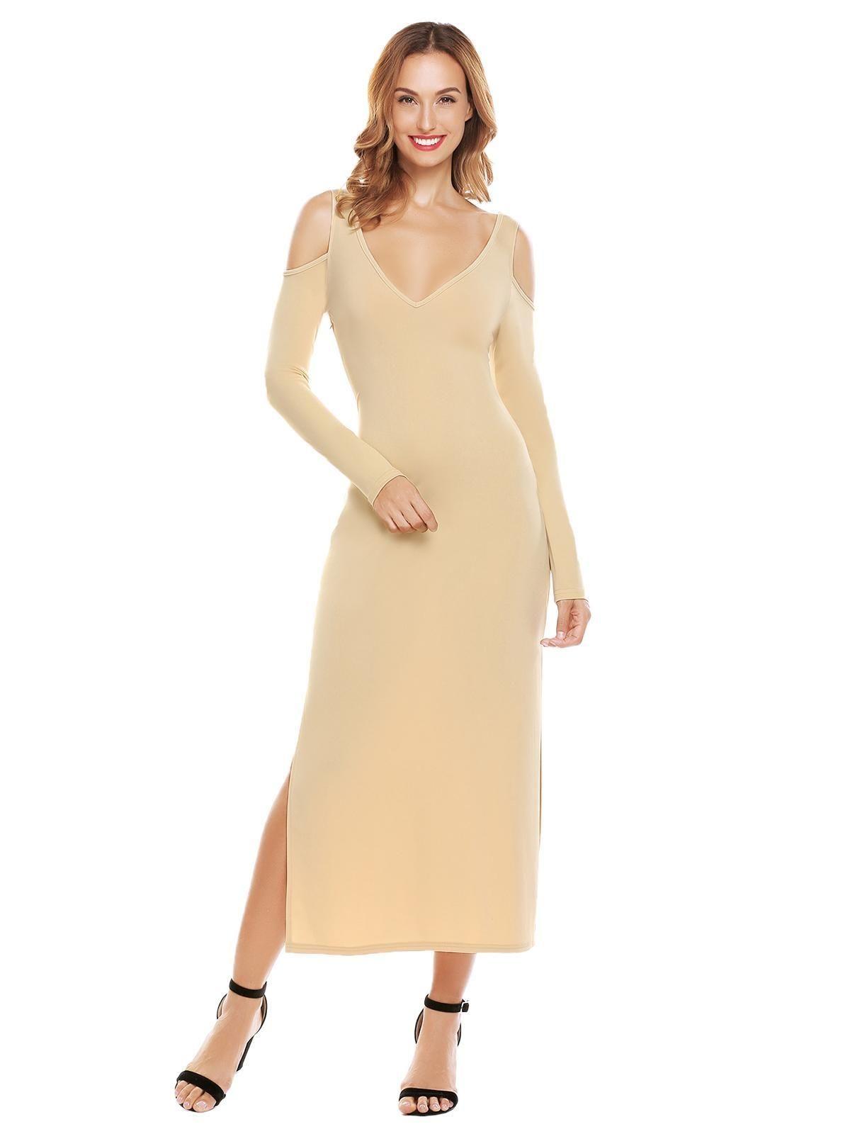 853824572e Sunshine Women Cold Shoulder V-Neck Long Sleeve V Back Sides Split Solid  Party Maxi Dress-Apricot