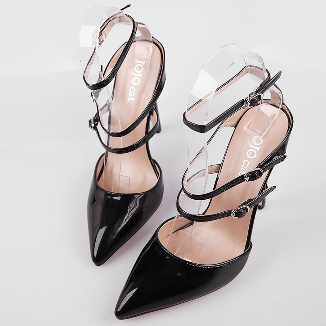 b23cf4cb282 Sunshine Solid Patent Leather Pointed Toe Stiletto High Heel Ankle-Strap  Heels Pumps-Black