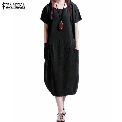 5fd1525bface ZANZEA ZANZEA Summer Womens Musilm Linen Dress Casual Loose Short Sleeve O-Neck  Dresses Vestidos (Black)
