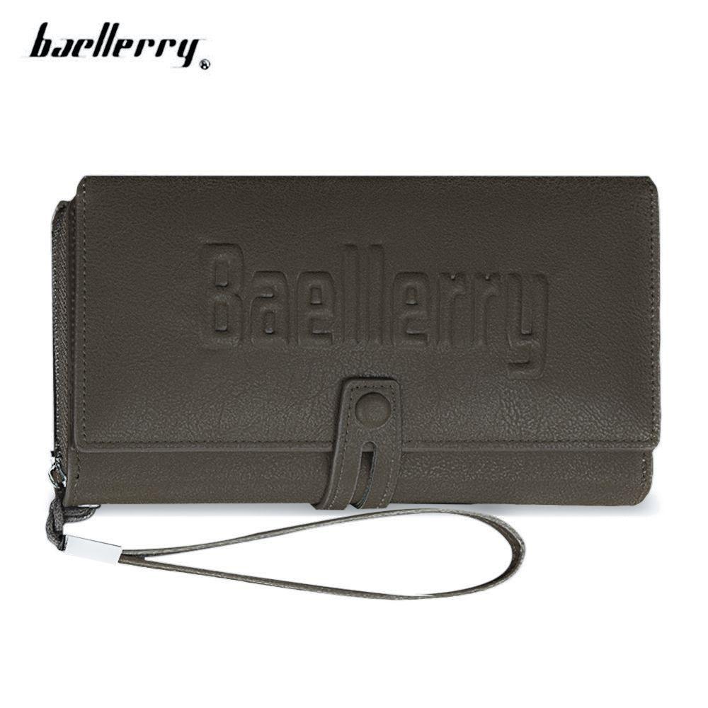 566f5f813e904 Baellerry Men Letter PU Leather Clutch Wallet - Khaki