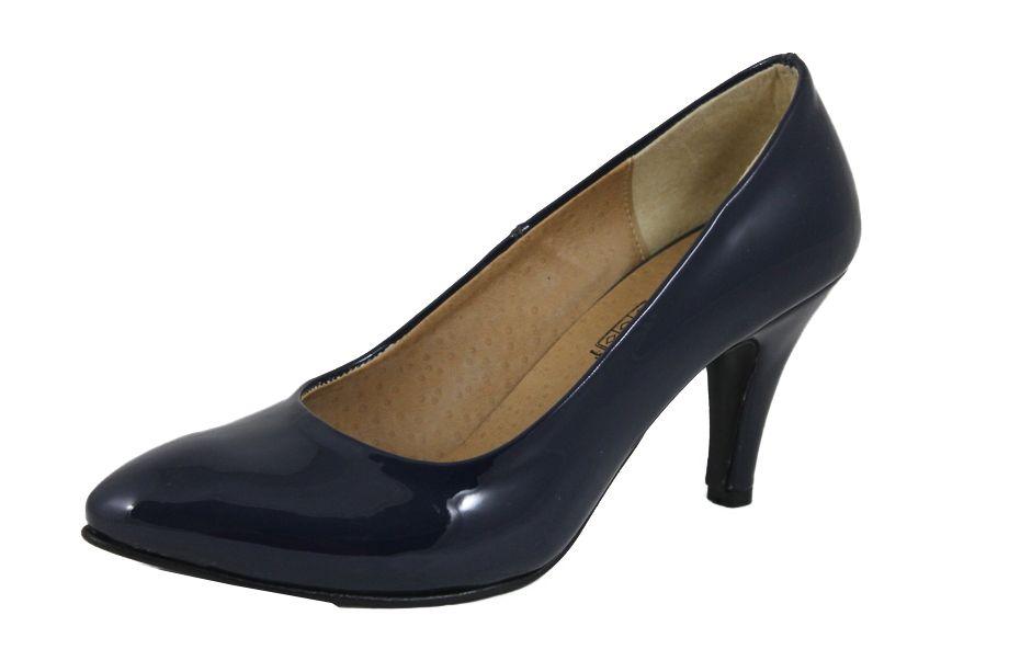 c2eaddc07461b سعر Shoebox حذاء كلاسيك بكعب عالي جلد فيرنيه - كحلي فى مصر