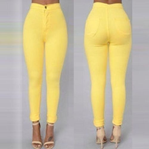 b115a5edc57 Fashion 5 Colors Fashion Womens Autumn Pencil Pants Sexy High Waist Skinny  Casual Solid Stretchy Long Trousers Plus Size S-XXL (Yellow)