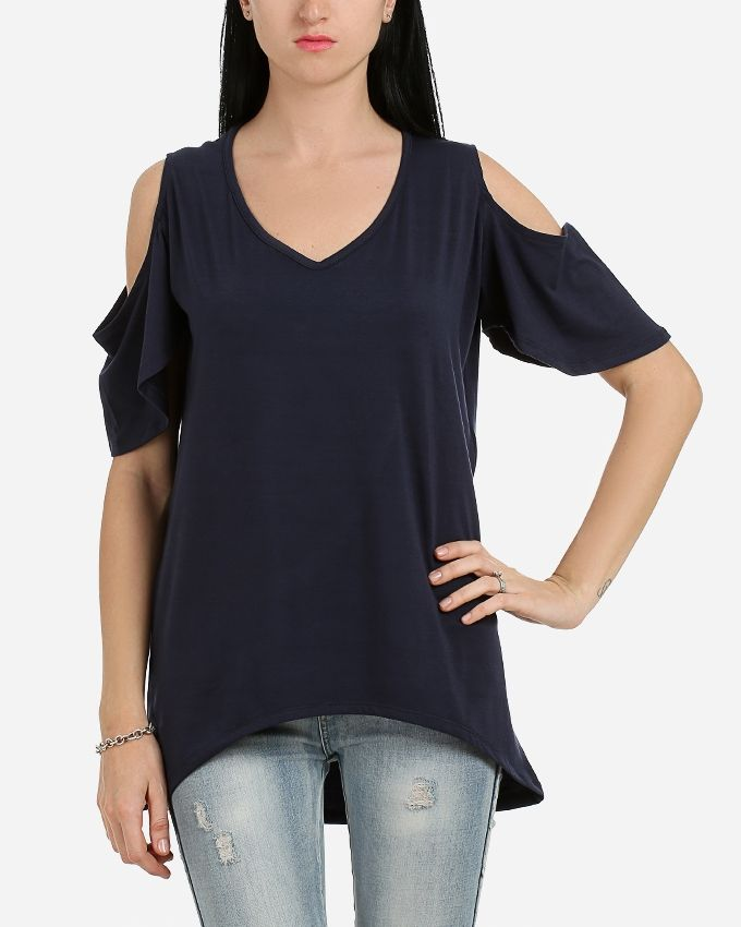 Andora Solid Strapless Tunic- Navy Blue