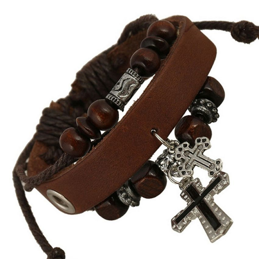 Neworldline Multilayer Beaded Retro Cross Bracelet-Brown