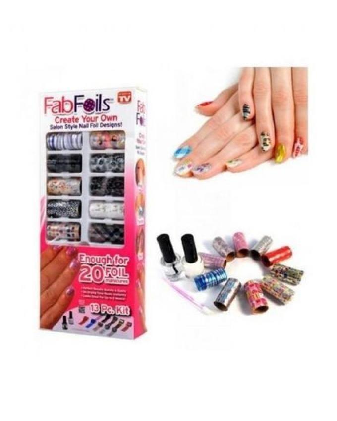 As Seen on TV Foils Nail Art Kit   Cosmetics   kanbkam.com
