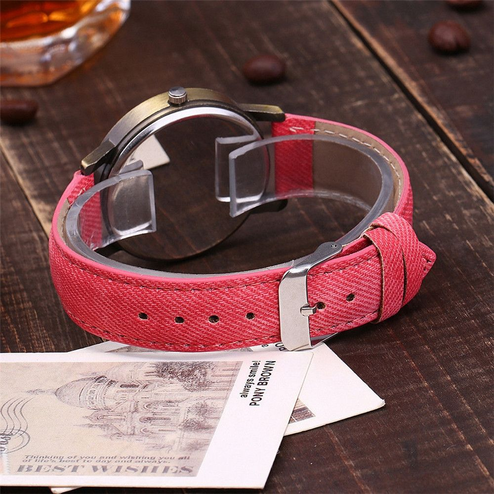 Generic New Global Travel By Plane Map Women Dress Watch Denim Fabric Band -Red