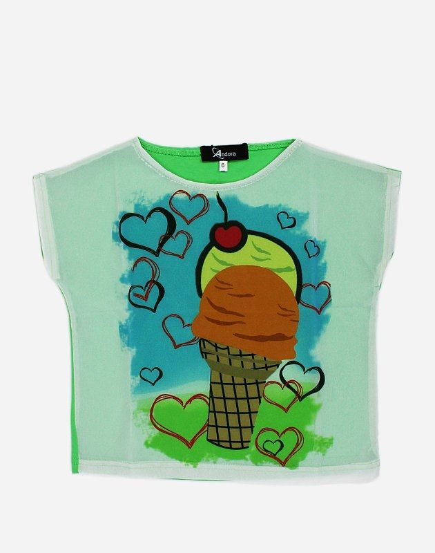 "Andora ""Ice Cream"" Printed T-Shirt - Green"