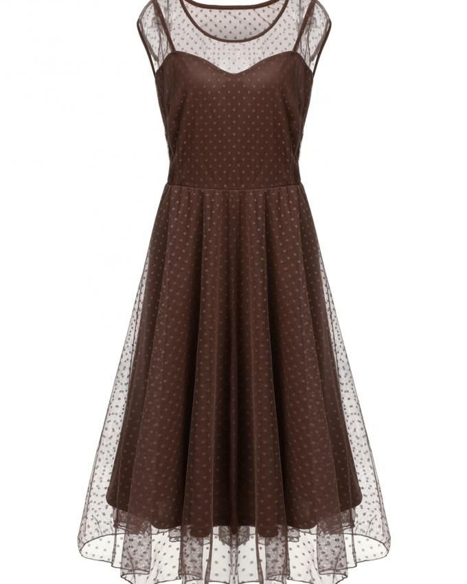75be31357c7 Casual O-Neck Sleeveless Net Yarn Ruched A-Line Plus Size Tank Dress With  Lining-Brown