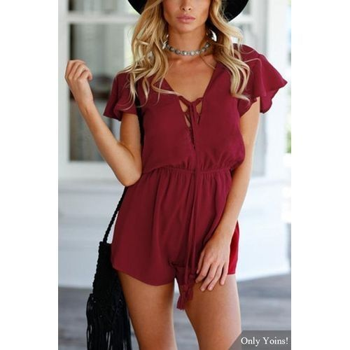 efee58d914 Fashion YOINS Women New High Fashion Clothing Casual Semi Sheer Open Back  Elastic Waist Playsuit