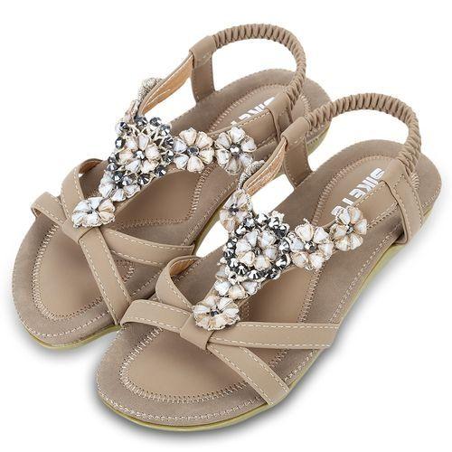 7457f49f6612a5 Siketu Women Bohemia Gladiator Sandals - Apricot