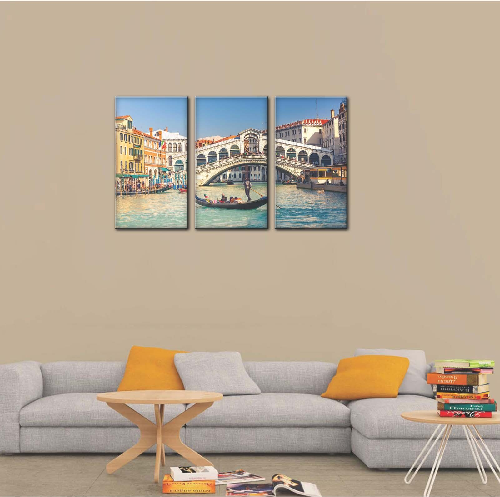 Print Plus Rialto Bridge Venice Italy Canvas Wall Art Painting 30cm X 40cm X 3 Pcs