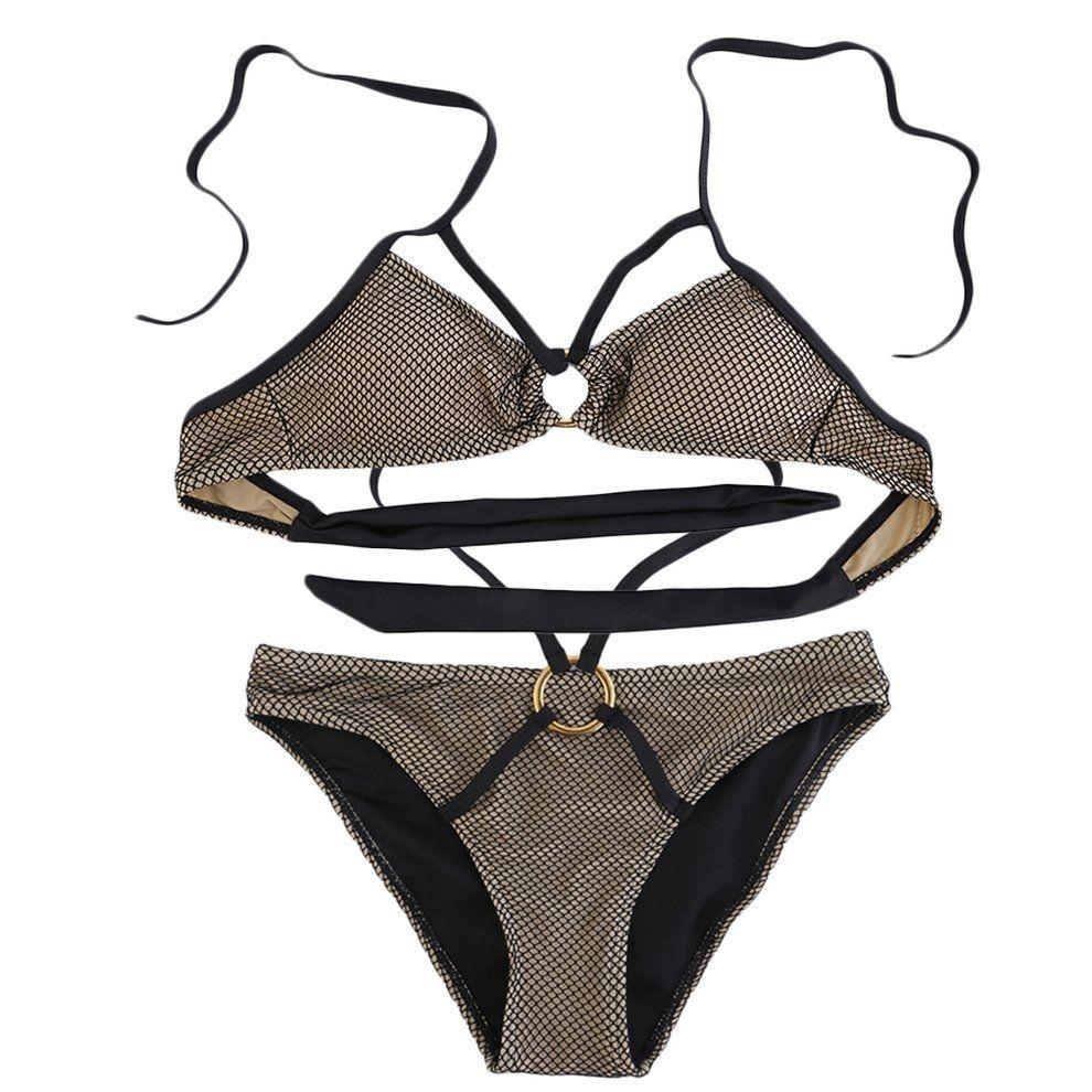 356a6888eeb95 Fashion Women s Back Tie Mesh Bikini Swimwear Triangle Bottom Set Beach  Swimsuit (Intl)