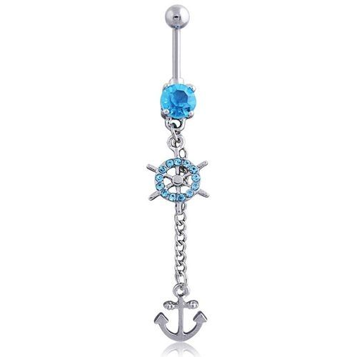 Home Fashion Sexy Navel Nail Rhinestone Anchors Rudder Pendant Navel Ring Body Piercing Women Jewelry