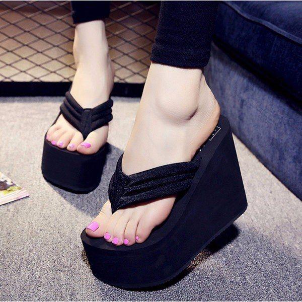 964eadd52 Fashion Women s Sexy High Heels Flip Flops Slippers Wedge Platform ...