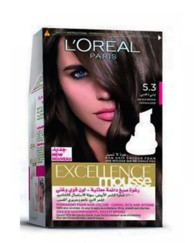L'Oreal Excellence Mousse Hair Color - Golden Brown 5.30 | Buy ...