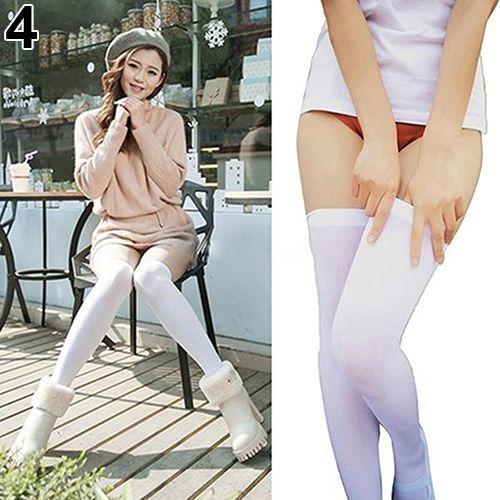 eab6b4de7b7 Sanwood Women Pure Color Warm Over The Knee Thigh High Soft Socks Stockings  Leggings-White