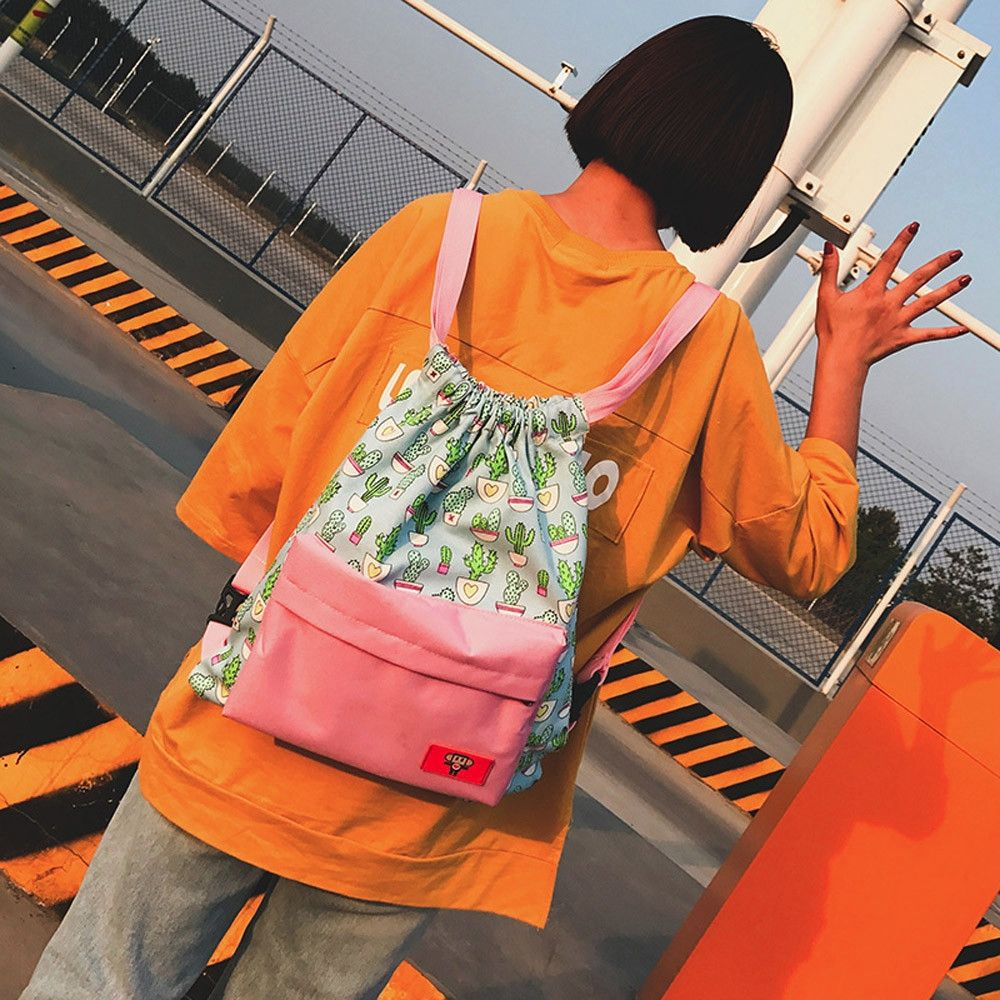 Neworldline Women Teenage Girl Boy Print Zipper Backpack School Bags  Fashion Shoulder Bag - Pink e97a30fa7ca4d