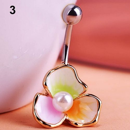 Sanwood Email Protected 3 Petals Flower Faux Pearl Belly Button Barbell Navel Ring Body Piercing Jewelry Pink