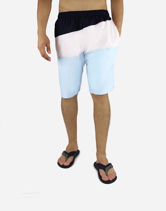 Andora Tri-Tone Short Swimsuit Classic Fit  - Blue Sky , Navy & Rose