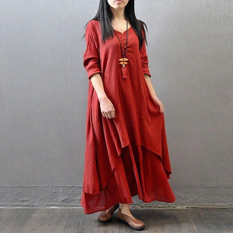 6012f6a802 ZANZEA ZANZEA Fashion Women Autumn Dress Elegant Loose Full Sleeve V Neck Dress  Casual Solid Cotton Linen Boho Long Maxi Dress Plus Size Vestidos Brick-Red