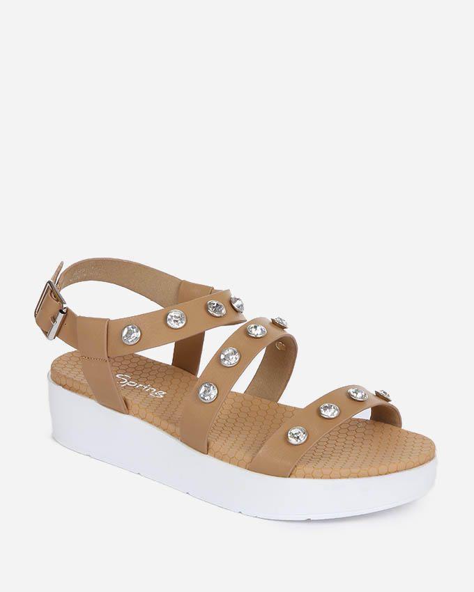Spring Strappy Sandals - Camel