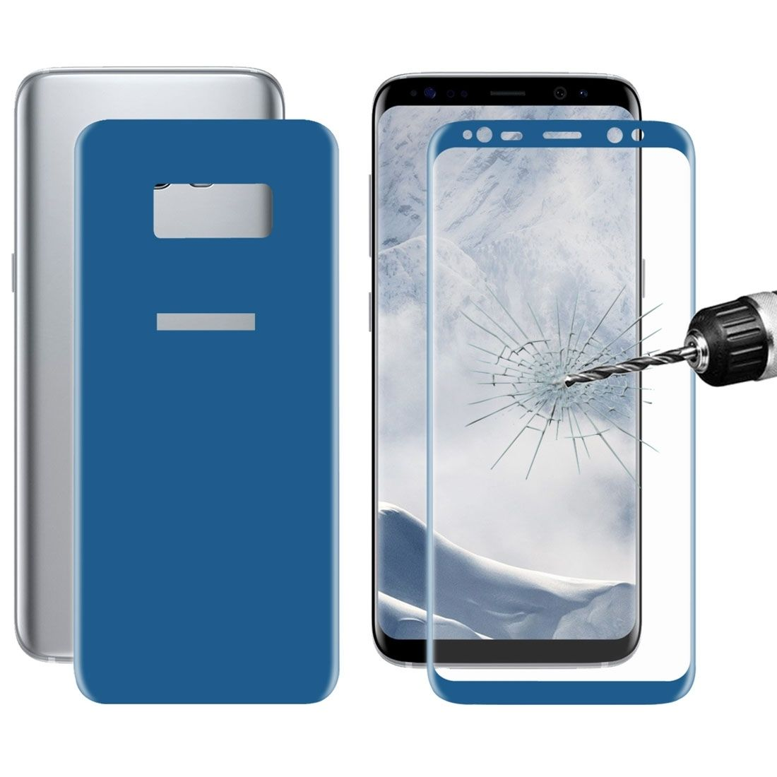 ... Front + Back For Samsung Galaxy S8+ / G9550 0.26mm 9H Surface Hardness 3D Curved Full Screen Bent Tempered Glass Color Screen Protector(Dark Blue)