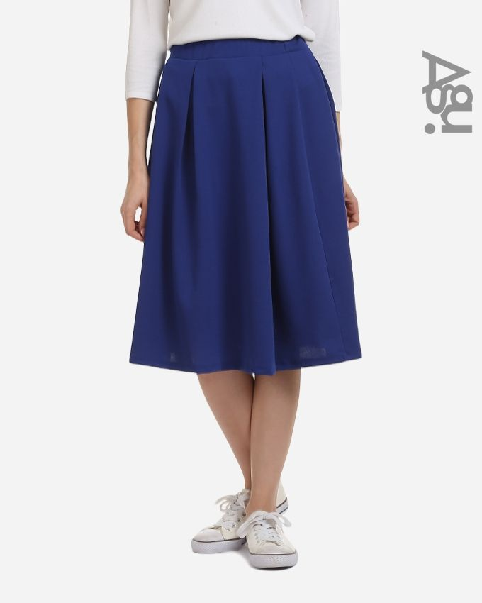 Agu Plain Fashionable Midi Skirt - Royal Blue