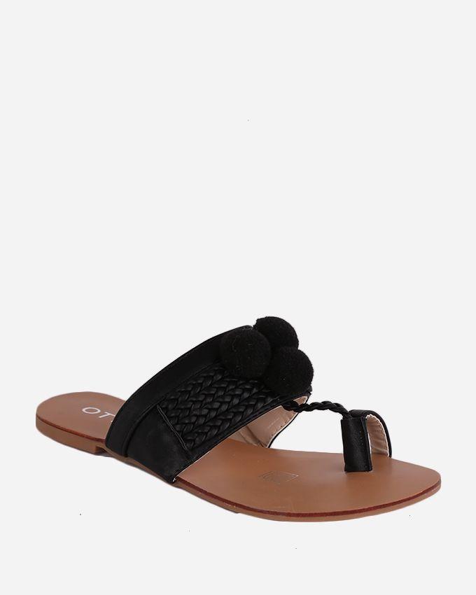 Joelle Pom Pom Fingered Sandal - Black