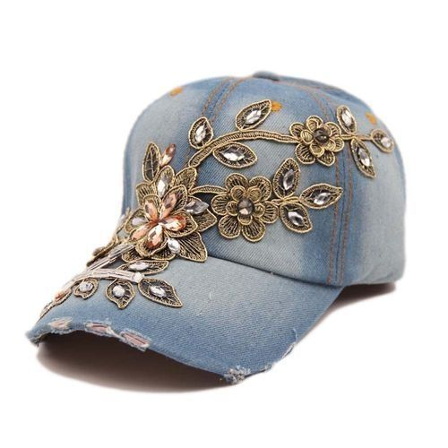 70913df98b7 Fashion 2017 HOT Women Diamond Flower Baseball Cap Summer Lady Jeans Hats  New