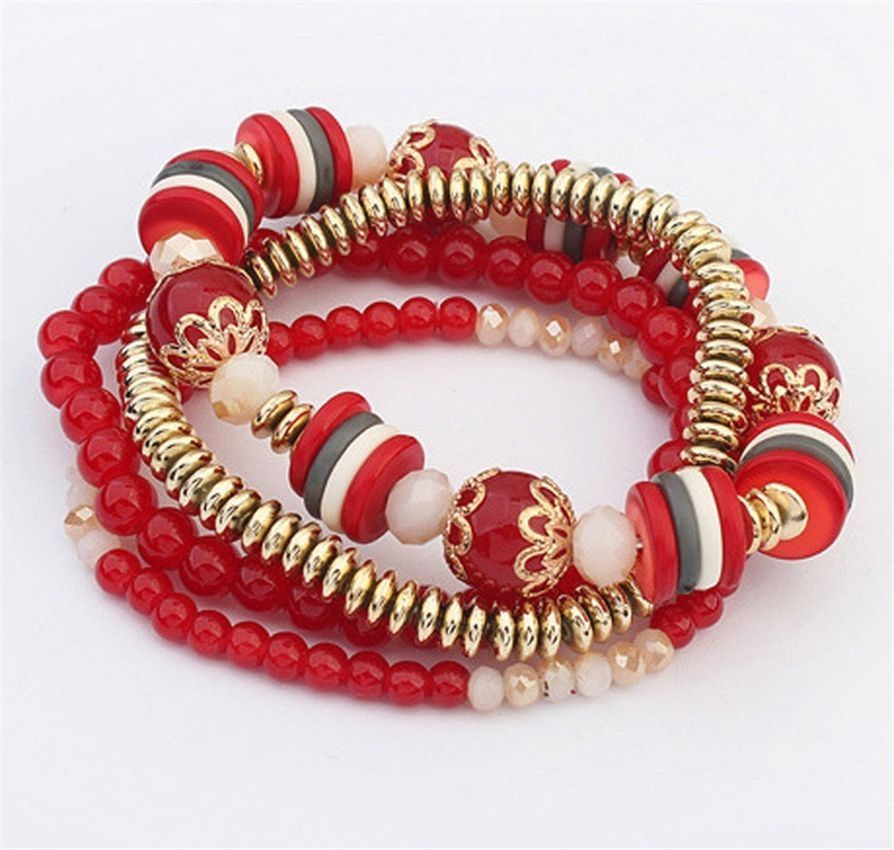 Neworldline Women Multilayer Beads Bangle Bracelets -Red